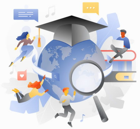 Global education header template with students studying online among books and globe in graduation cap. Web page header layout for online courses and web schools.